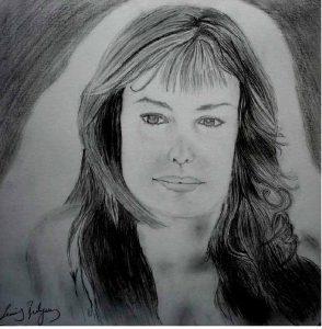 Portresi çizilmiş kız